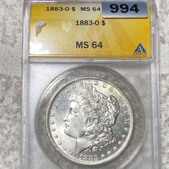 1883-O Morgan Silver Dollar ANACS - MS64