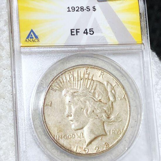 1928-S Silver Peace Dollar ANACS - EF45