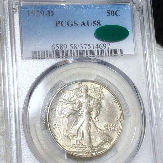 1929-D Walking Half Dollar PCGS - AU 58 CAC