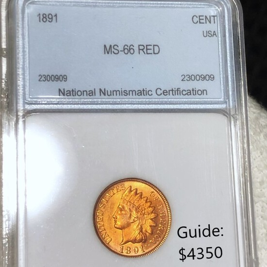 1891 Indian Head Penny NNC - MS 66 RED