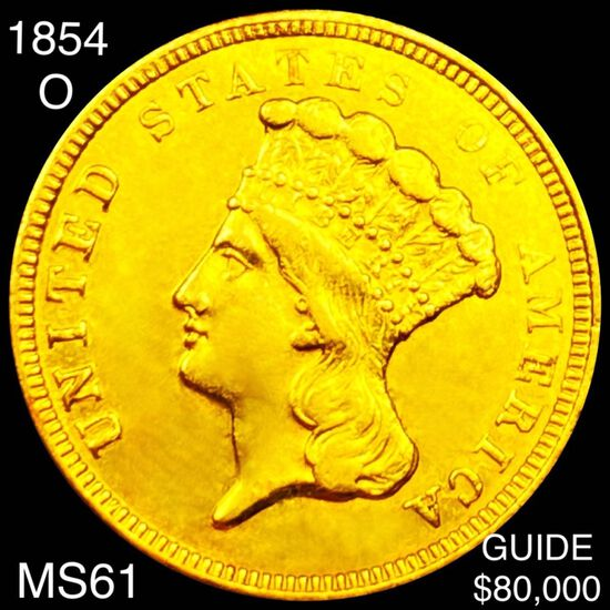 1854-O $3 Gold Piece UNCIRCULATED