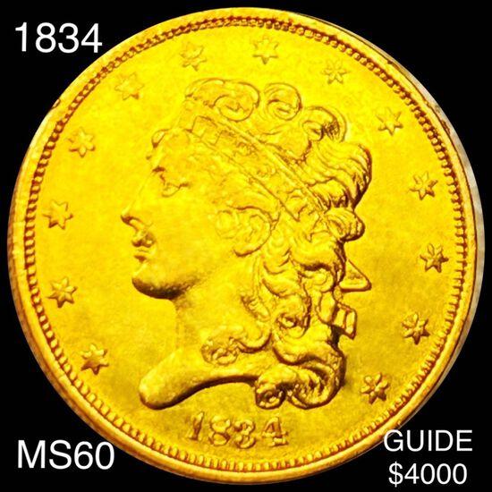 1834 $5 Gold Half Eagle UNCIRCULATED