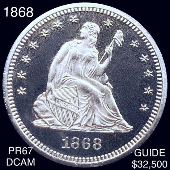1868 Seated Liberty Quarter SUPERB GEM PROOF