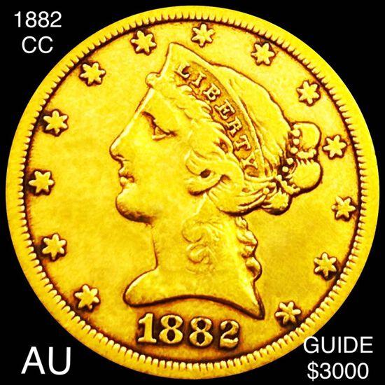 1882-CC $5 Gold Half Eagle AU