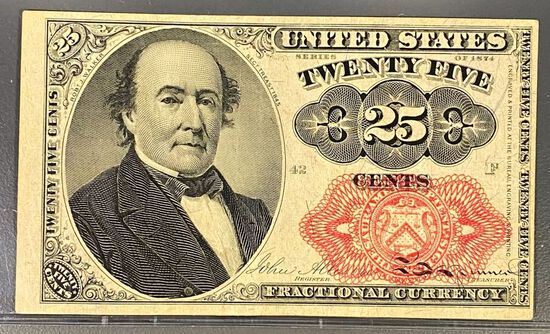 1874 US Fractional Currency 25 Cent Bill UNC
