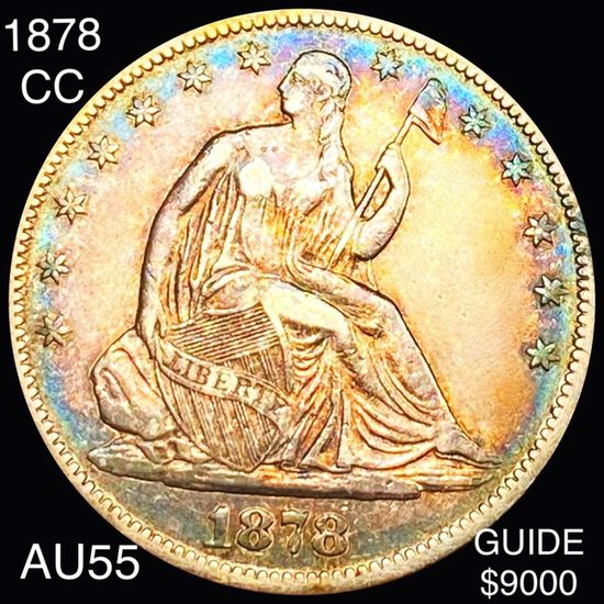 1878-CC Seated Half Dollar CHOICE AU