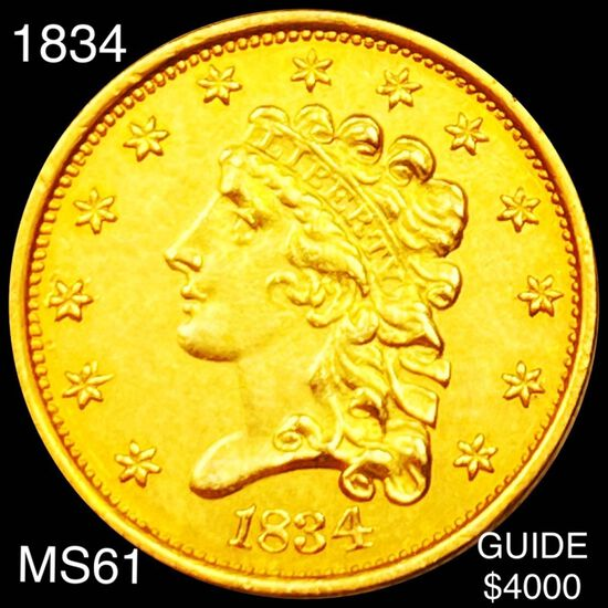 1834 $2.50 Gold Quarter Eagle UNCIRCULATED