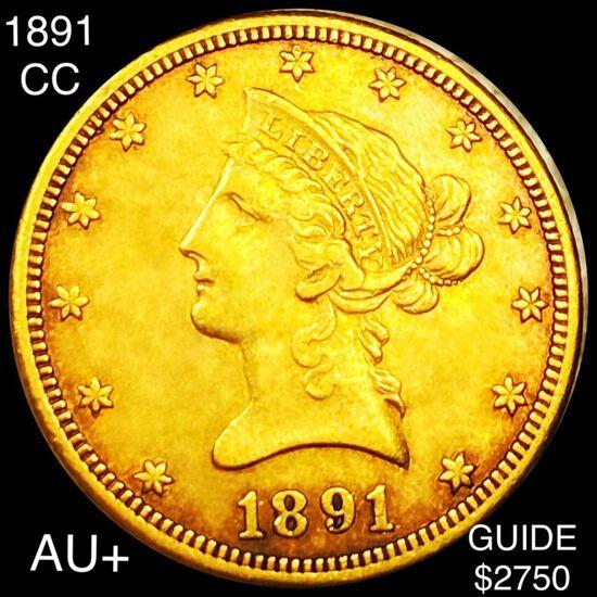 1891-CC $10 Gold Eagle AU+