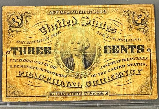 1863 US Fractional Currency 3 Cent Bill XF