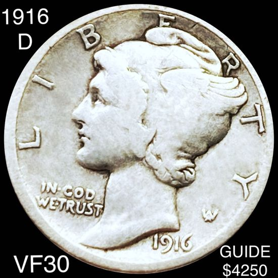 1916-D Mercury Silver Dime LIGHTLY CIRCULATED