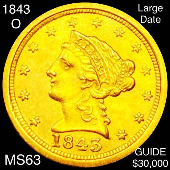 1843-O $2.50 Gold Quarter Eagle CHOICE BU