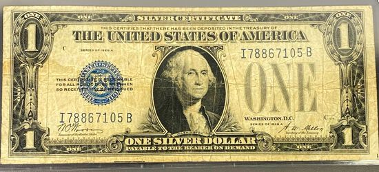 1928 US $1 Blue Seal Bill LIGHTLY CIRCULATED