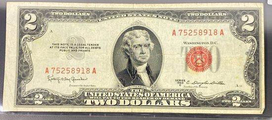 1953 US $2 Red Seal Bill CLOSELY UNCIRCULATED