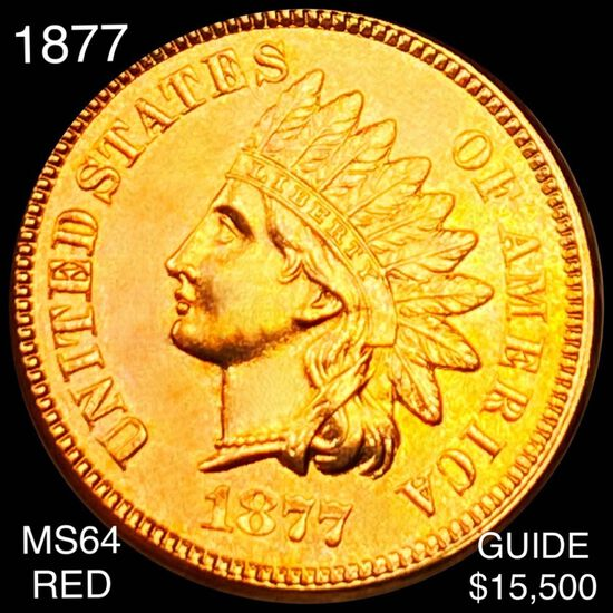 1877 Indian Head Penny CHOICE BU RED