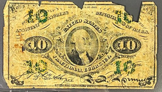 1863 US Fractional Currency 10 Cent Bill NICE CIRC