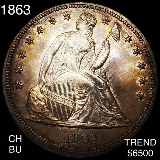1863 Seated Liberty Dollar CHOICE BU