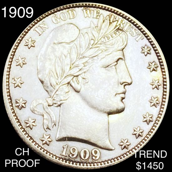 1909 Barber Half Dollar CHOICE PROOF