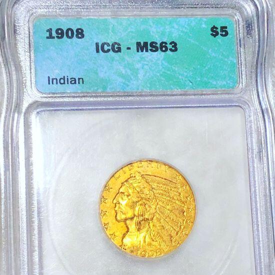 1908 $5 Gold Half Eagle ICG - MS63