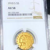 1910-S $5 Gold Half Eagle NGC - AU58