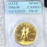 1984-W $10 Olympic Gold Coin AC - PR67CAM 1/2Oz