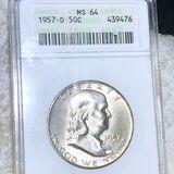 1957-D Franklin Half Dollar ANACS - MS64