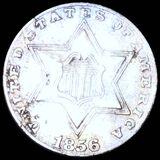 1856 Three Cent Silver XF