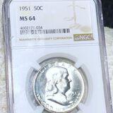 1951 Franklin Half Dollar NGC - MS64