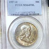 1957-D Franklin Half Dollar PCGS - MS 64 FBL