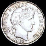 1901 Barber Silver Dime AU+