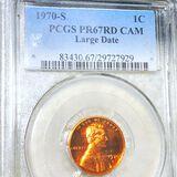 1970-S Lincoln Memorial Cent PCGS-PR67RDDCAM LG DT