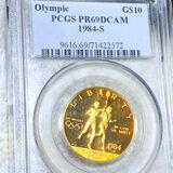 1984-S $10 Olympic Gold Coin PCGS - PR69DCAM 1/2Oz