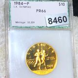 1984 $10 Olympic Gold Coin PCI - PR66 1/2Oz