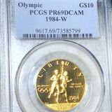1984-W$10 Olympic Gold Coin PCGS - PR69DCAM 1/2Oz