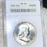 1963 Franklin Half Dollar ANACS - MS65