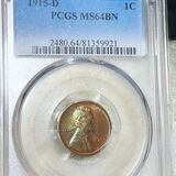 1915-D Lincoln Wheat Penny PCGS - MS 64 BN