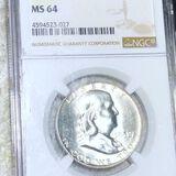 1958-D Franklin Half Dollar NGC - MS64