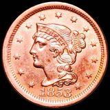 1853 Braided Hair Large Cent CHOICE BU RED