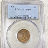 1908 Indian Head Penny PCGS - MS 64 BN