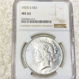 1925-S Silver Peace Dollar NGC - MS62