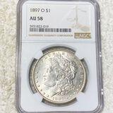 1897-O Morgan Silver Dollar NGC - AU58