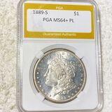 1889-S Morgan Silver Dollar PGA - MS64+ PL