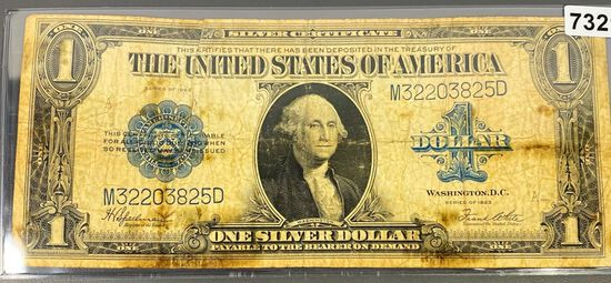 1923 US $1 Blue Seal Bill NICELY CIRCULATED