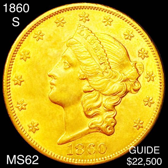 1860-S $20 Gold Double Eagle UNCIRCULATED