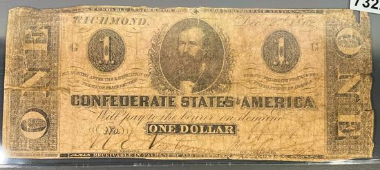 1862 $1 Confederate Bill NICELY CIRCULATED