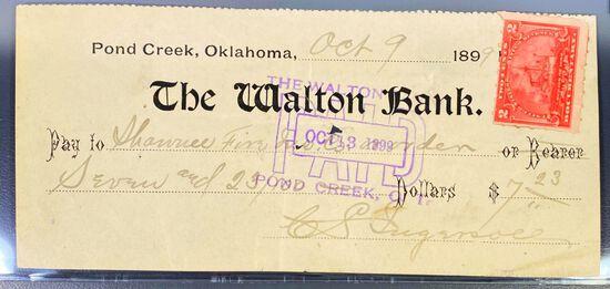 1899 The Walton Bank Check UNCIRCULATED