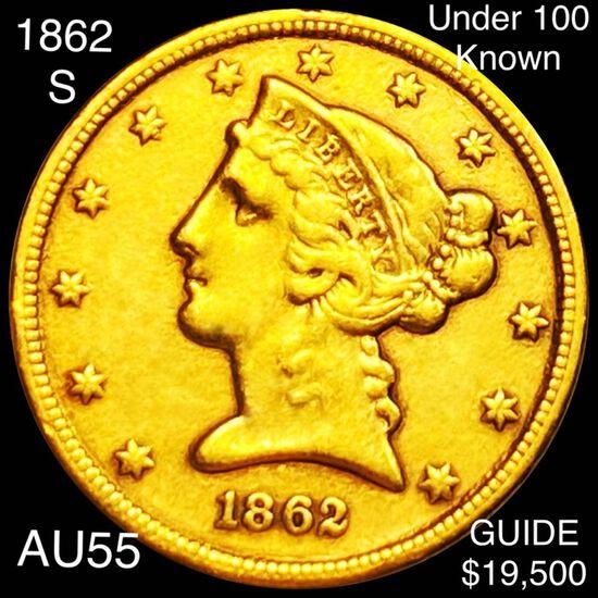 1862-S $5 Gold Half Eagle CHOICE AU