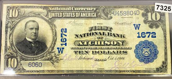 1906 $10 Bank Of Atchison Bill CLOSELY UNC