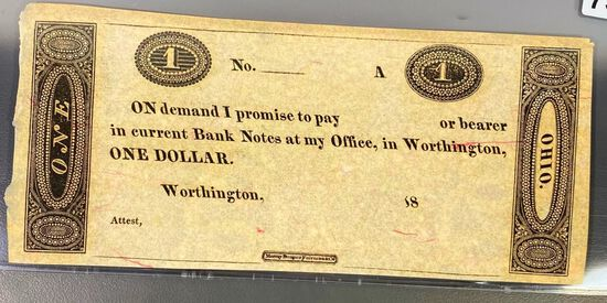 18?? $1 IOU Bill UNCIRCULATED