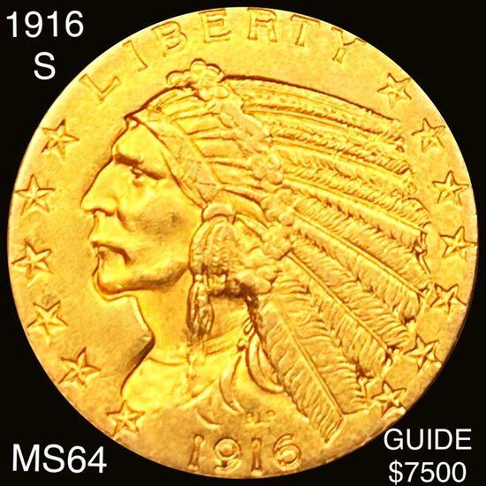 1916-S $5 Gold Half Eagle CHOICE BU