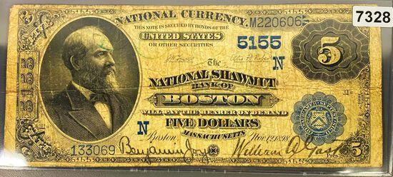 1898 $5 Bank Of Boston Bill LIGHTLY CIRCULATED